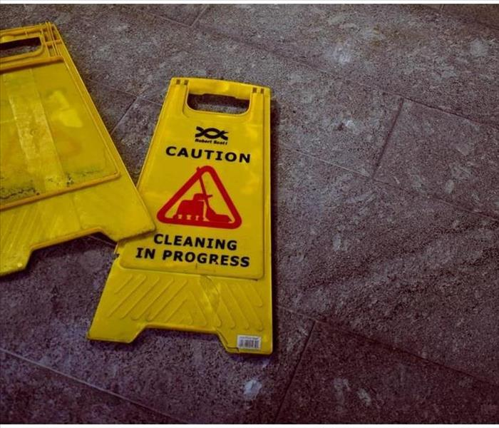 caution signs on floor